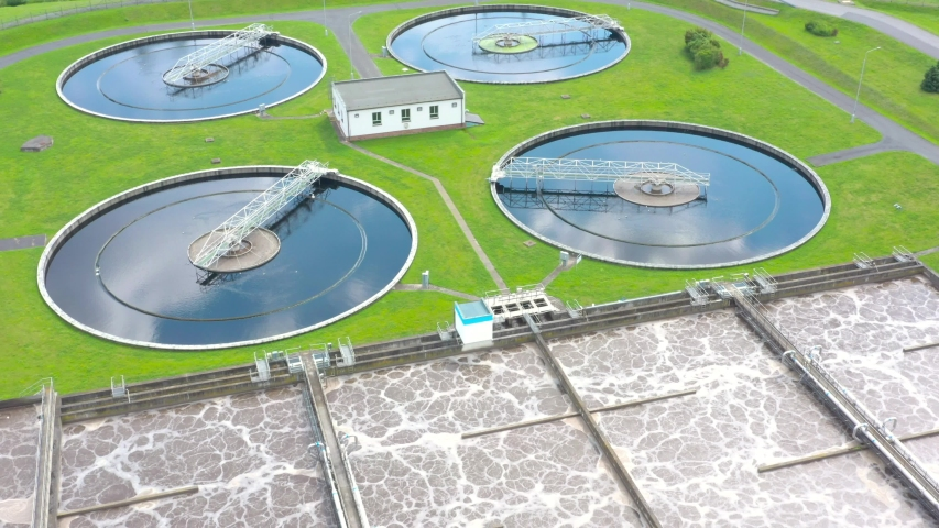 Sewage treatment plant in green fields. Grey water recycling. Waste management for 165, 000 inhabitants of Pilsen city in Czech Republic, Europe.