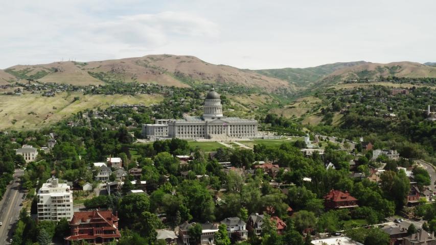 Aerial of Utah Capitol in Salt Lake City, green cityscape