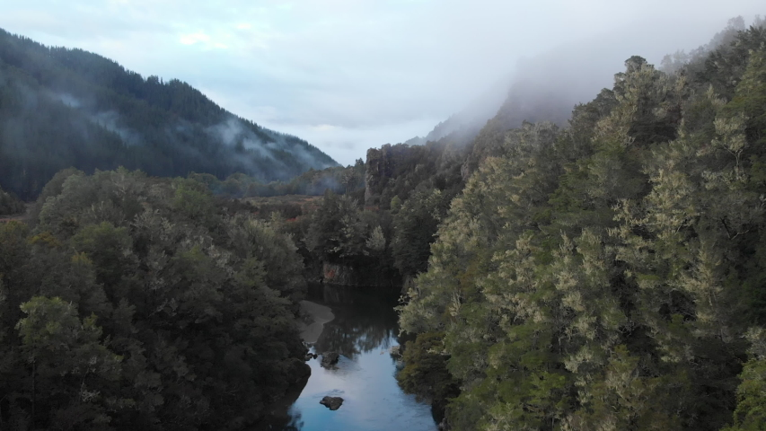 Foggy river and mountain ranges, Murchison, New Zealand  footage in ProRes 4K