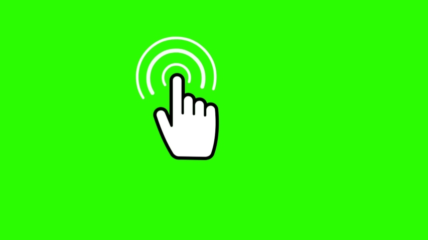Technology and Internet icons animation with green background.Hand Touchscreen icon animation with green background.
