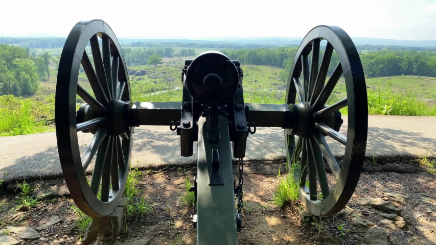American Civil War Cannon, Army soldier point of view at Round Top