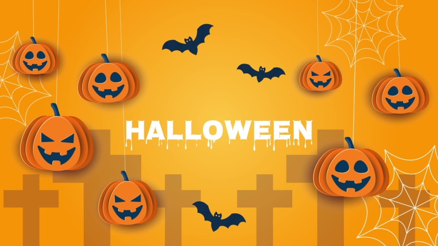 Halloween animation. Halloween concept pumpkins, bright background. Fun 3D animation on the theme of Halloween   Shutterstock HD Video #1055145599