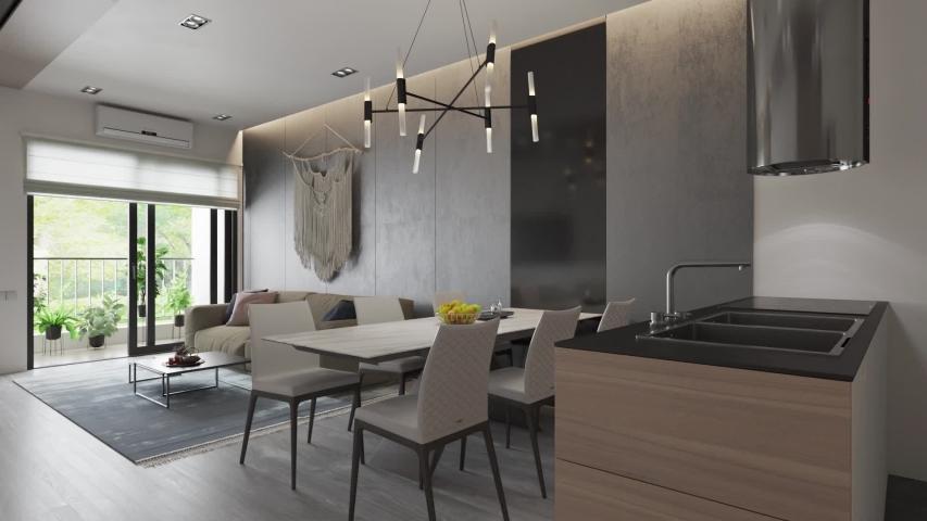 3d render. Camera span across  a modern open living space with kitchen. | Shutterstock HD Video #1055151575