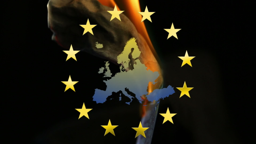 Animation of yellow stars spinning over Euro bill burning, reveling EU map. Finance and technology concept digital composite | Shutterstock HD Video #1055151962