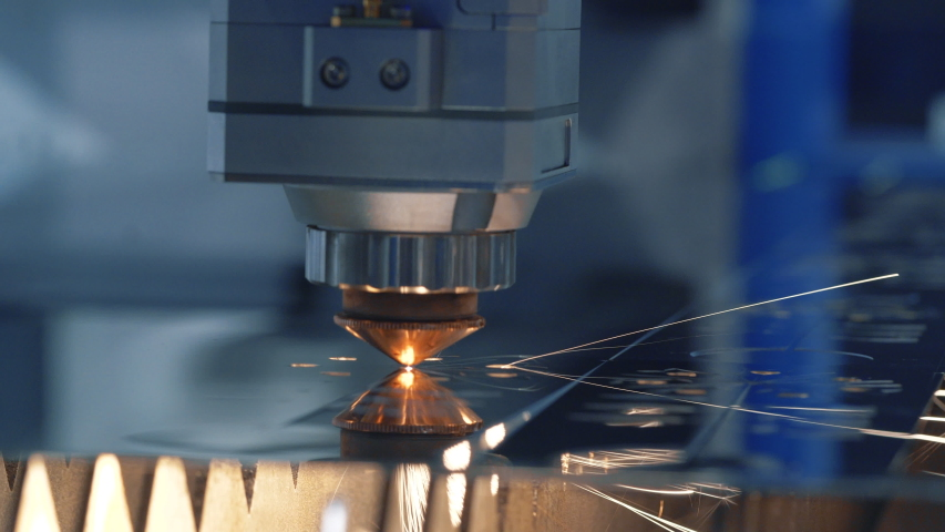 Modern Technological Cnc Cutting Power Action on Metallic Horizontal Ironwork Object Hot Gas. Making Industrial Details in Computer Program Heavy Industry. Cut Metal Material Laser Burn Closeup Shot Royalty-Free Stock Footage #1055153270