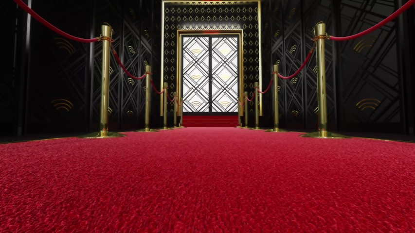 Red Carpet festival scene animation. Red carpet and pillars with red ropes. 3D render Royalty-Free Stock Footage #1055154374