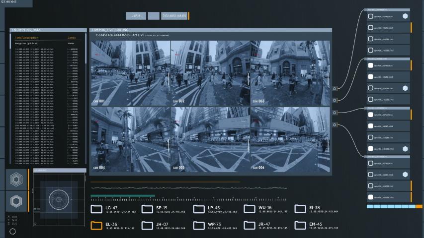 Surveillance Multi Monitor Screen, Computer user Interface. Modern CCTV System in City  | Shutterstock HD Video #1055158991