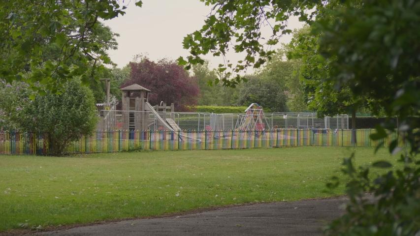 Children's Playground Closed due to Coronavirus Lockdown. UK. Royalty-Free Stock Footage #1055159630
