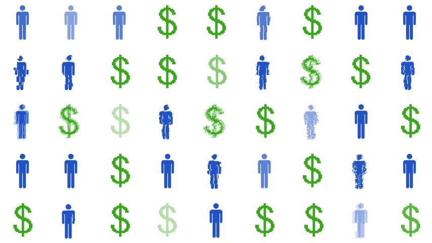Man Icon Transitions to Dollar Sign, Concept for Gender Inequality, Male Spending, Income and Wage Gap, White background | Shutterstock HD Video #1055160356
