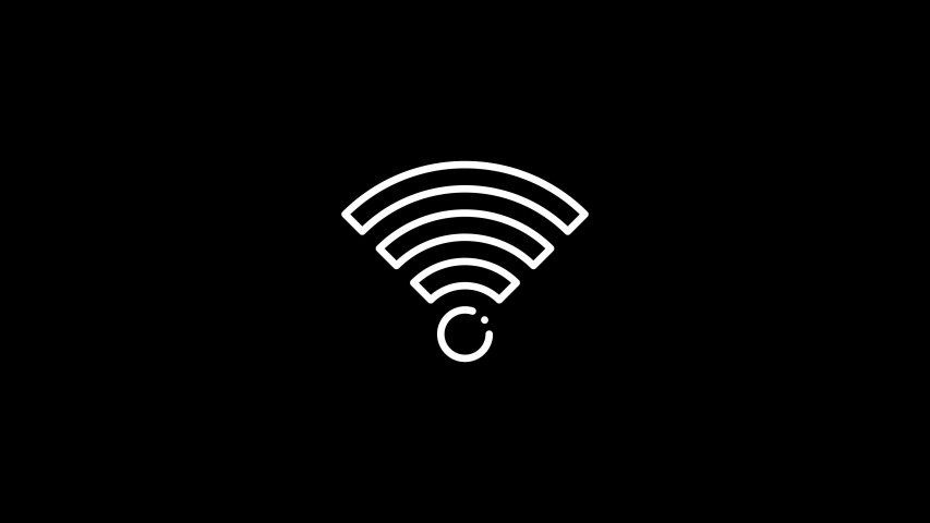 Wifi signal icon white on black alpha animated in 4K.  Royalty-Free Stock Footage #1055168213