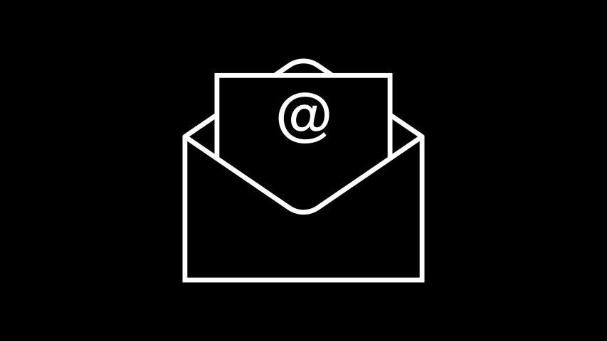 Email opening animated icon. 4K white on black alpha channel.