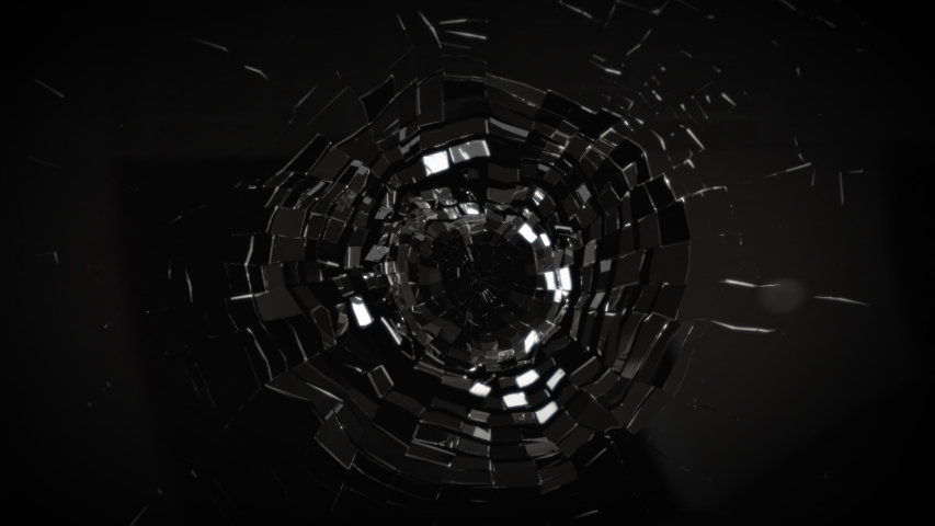 Hi speed shatter mirror cracking in slow motion top view with 3d rendering. | Shutterstock HD Video #1055176574