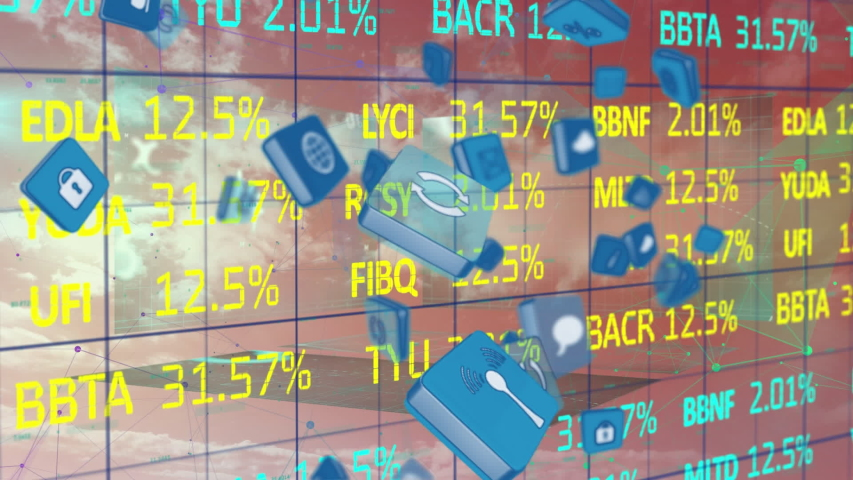 Animation of social icons in blue cubes falling over blue and yellow stock market data processing with a grid. Stock market global finances concept digital composite