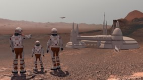 Family colonists immigrants to Mars, a man, a woman and a child admire the Martian landscape, the city and the spaceship. Exploring mission to mars. Elements of this video furnished by NASA.
