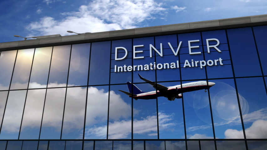 Jet aircraft landing at Denver, Colorado, USA 3D rendering animation. Arrival in the city with the glass airport terminal and reflection of the plane. Travel, business, tourism and transport concept. | Shutterstock HD Video #1055183723