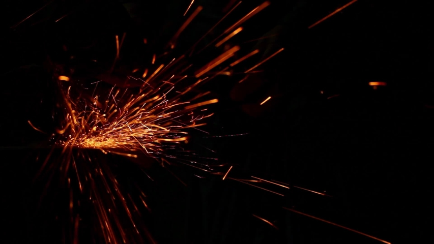 View on sheaf spark of working with angle grinder in darkness | Shutterstock HD Video #1055189189