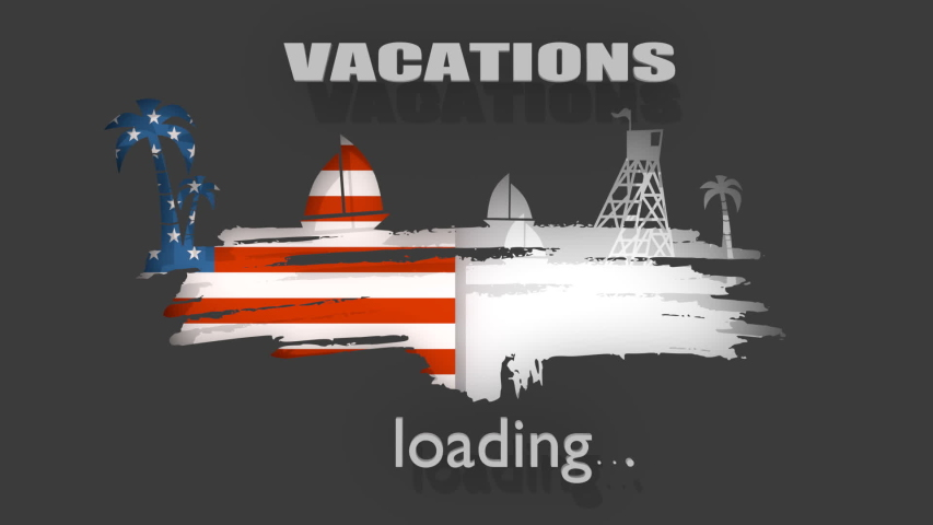 Tropical beach. Silhouettes of the palm, boat and lifeguard tower. 3D rendering. Flag of the USA. Progress or loading bar.   Shutterstock HD Video #1055196176