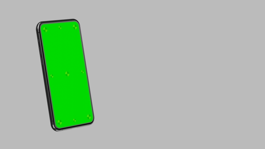Smartphone blank green screen with indicators slide into the frame. Phone flies to the left and right and to the center in horizontal mode. Luma matte included for easy replacing background