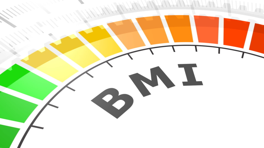Body mass index meter read level result. Color scale with arrow from green to red. The measuring device. Colorful infographic gauge element.   Shutterstock HD Video #1055201918