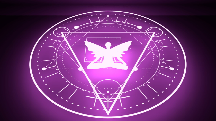 Mystery, witchcraft, occult and alchemy tattoo sign. Mystical vintage gothic geometry thin lines symbol with butterfly woman in lotus yoga pose. Neon shine illumination   Shutterstock HD Video #1055201921