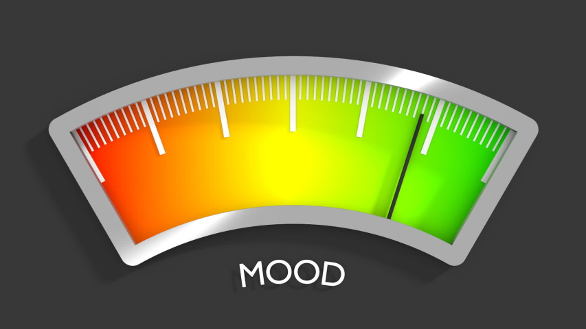 Good mood meter measure happiness or satisfaction level. Color scale with arrow. The measuring device icon. Colorful infographic gauge element. 3D rendering   Shutterstock HD Video #1055201924