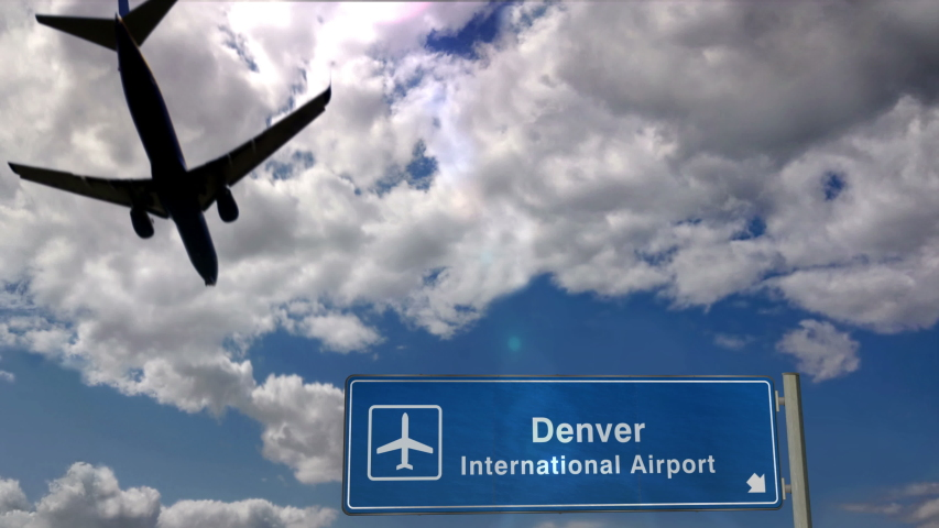 Jet plane landing in Denver, Colorado, USA. City arrival with airport direction sign. Travel, business, tourism and transport concept. 3D rendering animation. | Shutterstock HD Video #1055208662