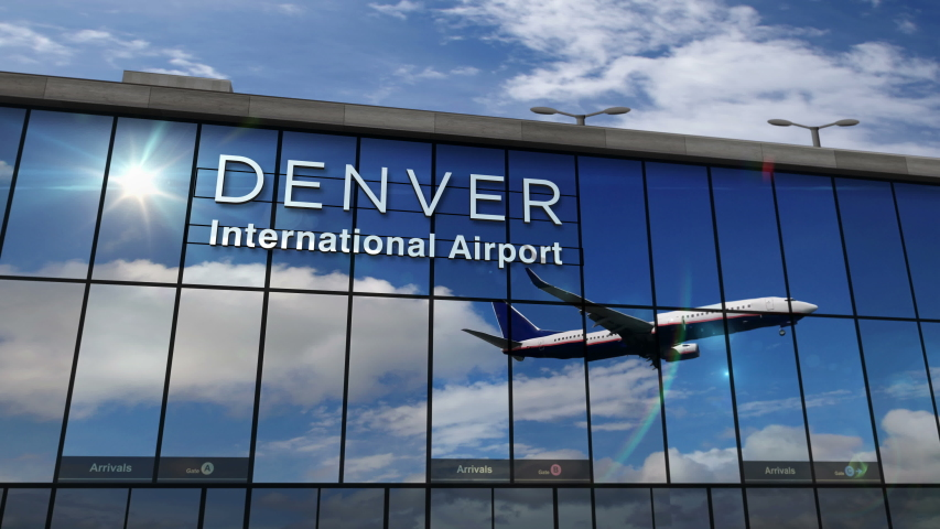 Jet aircraft landing at Denver, Colorado, USA 3D rendering animation. Arrival in the city with the glass airport terminal and reflection of the plane. Travel, business, tourism and transport concept. | Shutterstock HD Video #1055209691