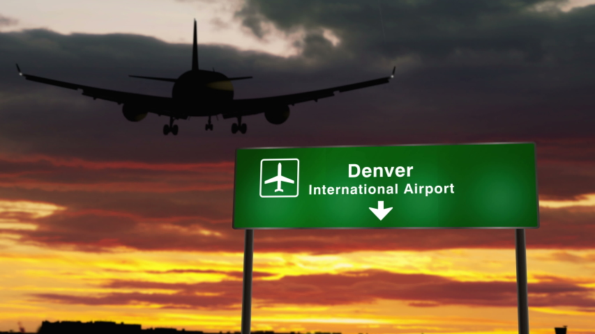Airplane silhouette landing in Denver, Colorado, USA. City arrival with airport direction signboard and sunset in background. Trip and transportation concept 3d animation. | Shutterstock HD Video #1055215766