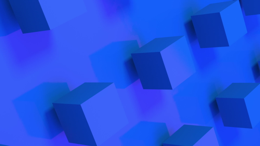 Vertical video of seamless loop of 3D blue cubes rotating on a royal blue background. Space to put your text. Textless 3D animation great for social media ads. | Shutterstock HD Video #1055216834