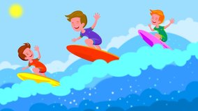 Young boy surfing on sea. Child on surf board on ocean wave. Active water sports for kids.