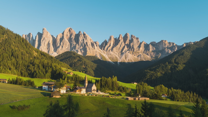 4K, 10BIT, YUV422 timelapse of Santa Maddalena village with majestic Dolomite mountains in background, Val di Funes valley, Trentino Alto Adige region, Italy, Europe