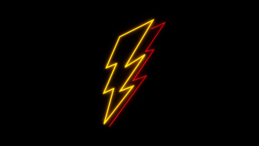 Animated bolt neon elements effect, Light neon on black background with alpha channel   Shutterstock HD Video #1055227388