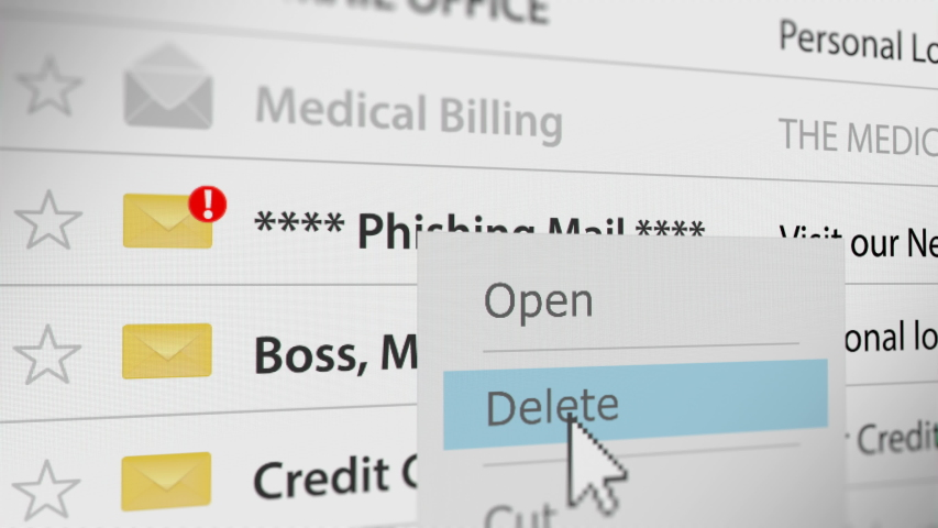 Mouse Cursor Deleting Phishing Mail  Royalty-Free Stock Footage #1055229329