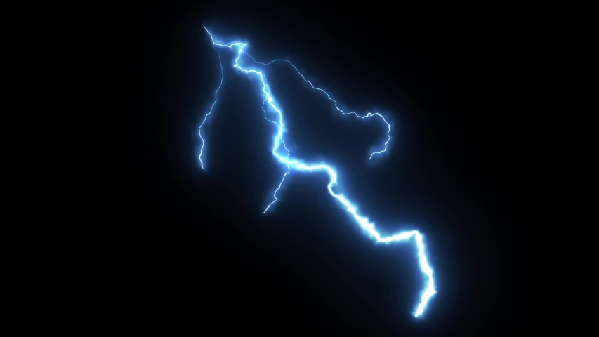 View of breathtaking lightning in the dark night sky in summer. The sky storms with lightning and thunder. Night storm clouds. Slow movement