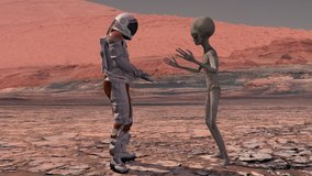 Astronaut meets a Martian on Mars. First contact. Alien on Mars. Exploring mission to mars. Colonization and space exploration concept. 3d rendering. Elements of this video furnished by NASA.
