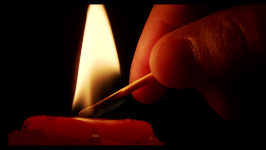 Match Lighting Close-up Macro With Single Candle Flame Isolated on Black Background In Slow Motion | Shutterstock HD Video #1055232992