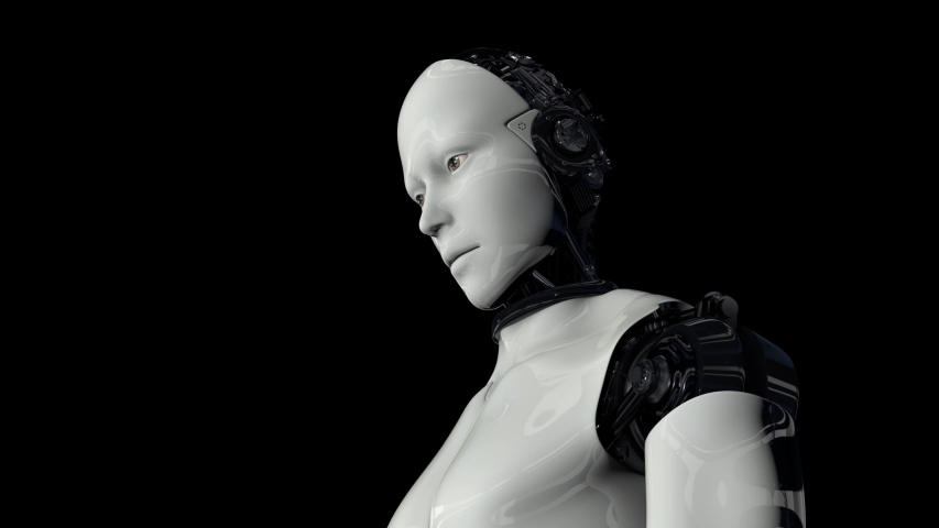 Robot android is activated and raises its head. The camera flies around. On a black background. 4K. 3D animation. | Shutterstock HD Video #1055233070