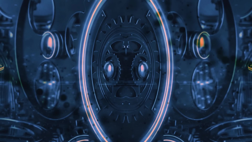 Mechanical construction in motion. Black bokeh particles. Futuristic intro   Shutterstock HD Video #1055242325