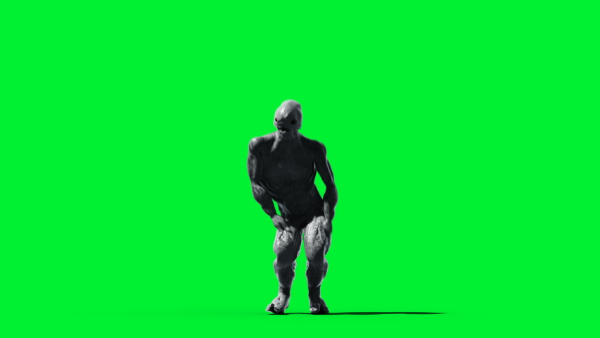 Scary monster animation. Phisical, motion, blur. Realistic 4k animation. Green screen | Shutterstock HD Video #1055244251
