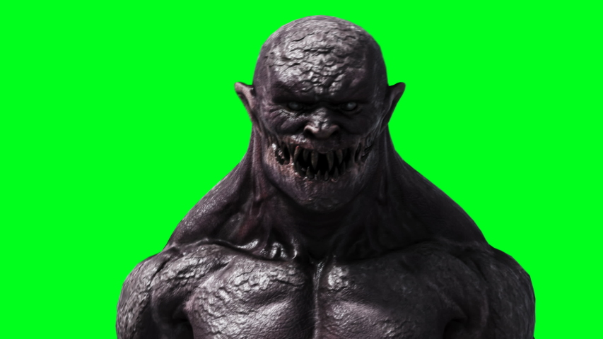 Scary monster animation. Phisical, motion, blur. Realistic 4k animation. Green screen | Shutterstock HD Video #1055244500