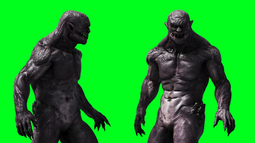 Scary monster animation. Phisical, motion, blur. Realistic 4k animation. Green screen | Shutterstock HD Video #1055244509
