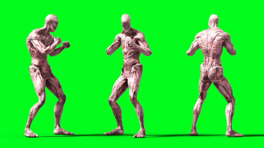Scary monster animation. Phisical, motion, blur. Realistic 4k animation. Green screen | Shutterstock HD Video #1055244530