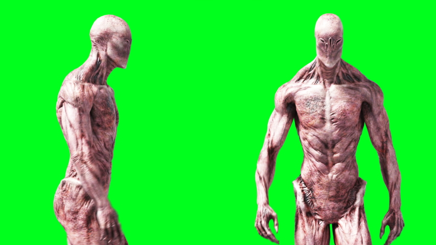 Scary monster animation. Phisical, motion, blur. Realistic 4k animation. Green screen | Shutterstock HD Video #1055244548