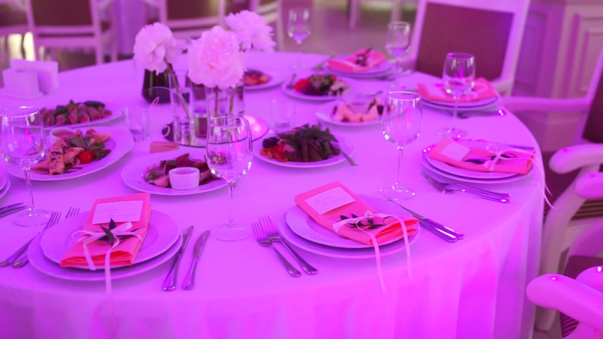 Banquet table with food and decor in a restaurant | Shutterstock HD Video #1055244668