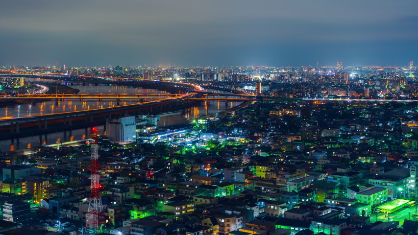 Time lapse of cityscape and highway road bridge in Tokyo at night, Japan   Shutterstock HD Video #1055245094