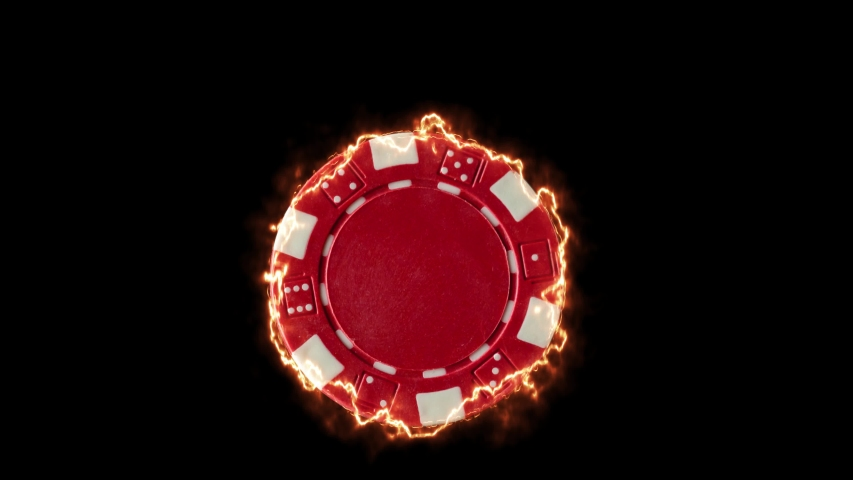 Red burning Casino chip over black background | Shutterstock HD Video #1055245541