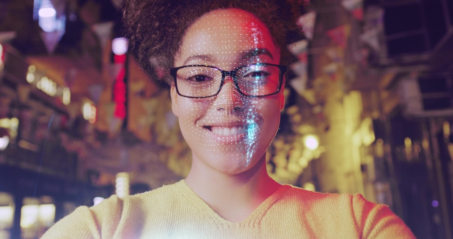 Close Up Shot Of Young Beautiful Woman Face Detection 3D Scanning Biometric Facial Recognition ID 5G Connections Future Shot Red Epic 8k Royalty-Free Stock Footage #1055247176