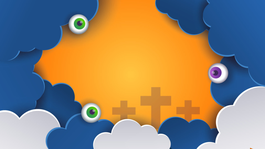 Halloween animation. Halloween concept pumpkins in the clouds, bright background. Fun 3D animation on the theme of Halloween   Shutterstock HD Video #1055248202