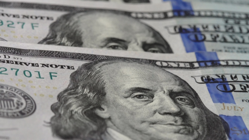 Macro many 100 american dollar bills. Cash money banknotes. Franklin's face texture. Finance and investment concept. Closeup shot. Currency exchange of one hundred usd. Rich business economy of usa | Shutterstock HD Video #1055254025