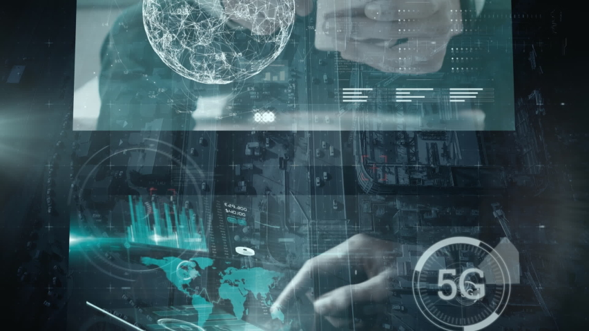 Animation of data processing and digital information flowing through network of computer screens over cityscape. Global business, network of internet service provider or data processing centre concept   Shutterstock HD Video #1055259527